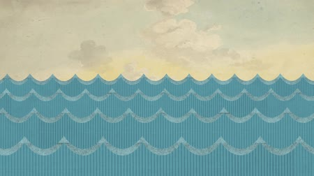 water puppet : Windy Cardboard Sea Waves on a Painted Cloudy Sky Background