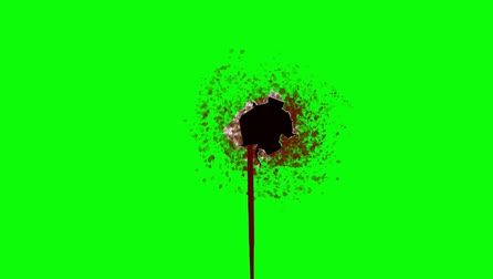 krew : Bleeding Bullet Hole on a Green Screen Background