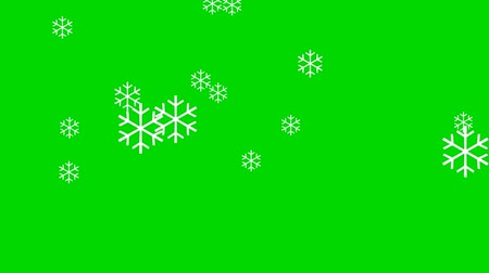 gevreği : Animation of Snowflakes on a Green Screen Background