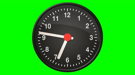 hora : Clock Making a Full 24 Hours Cycle on a Green Screen Background