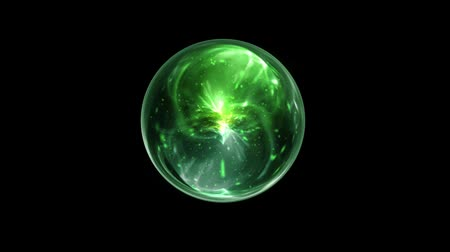 psicodélico : Green Magical Orb Spin on a Black Screen Background