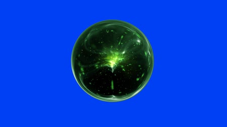 psicodélico : Green Magical Orb Spins on a Blue Screen Background
