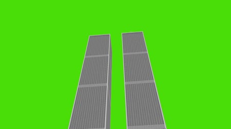 wrzesień : Lower View of The World Trade Center Illustration on a Green Screen Background