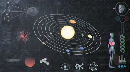 футуристический : Smudgy Dirty Futuristic HUD Analyzing Values of the Solar System and Human