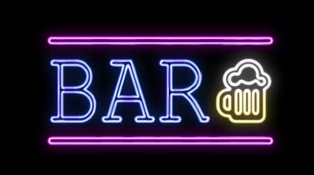 паб : BAR Sign Neon Sign in Retro Style Turning On