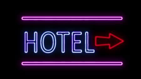 отель : Hotel and Arrow Neon Sign in Retro Style Turning On
