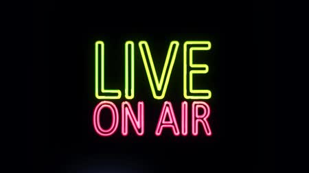 жить : Live ON AIR Sign in Neon Style Turning On Стоковые видеозаписи