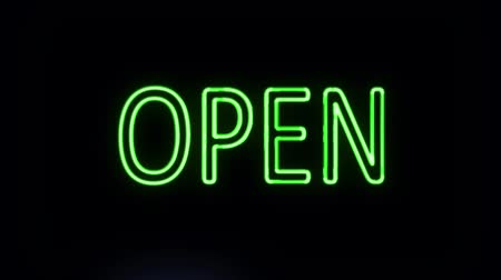 неон : Open Sign in Neon Style Turning On