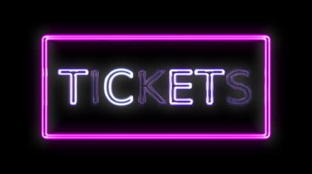 donker : Tickets Neon Sign in retro stijl aanzetten Stockvideo