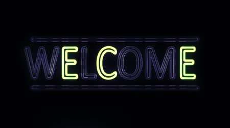 renkli arka plan : Welcome Sign Sign in Neon Style Turning On