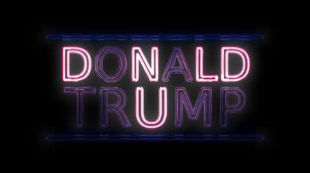 democrats : American Election Donald Trump Sign Neon Sign in Retro Style Turning On