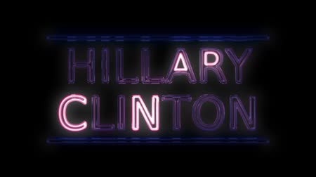 democrats : American Election Hillary Clinton Sign Neon Sign in Retro Style Turning On
