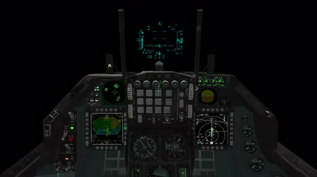 bas : Point of View of a F-15 Cockpit and HUD Illustration in Alpha Channel