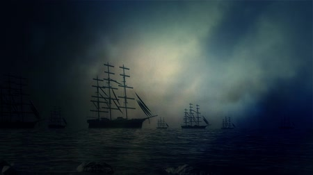 tempestade : Massive Fleet of Sailing Ships Sailing to Shore Under a Lightning Storm