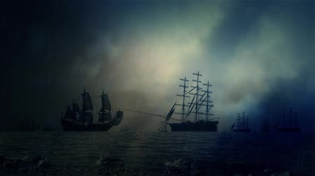 средневековый : Naval Sea Battle Between Two Fleet of Sailing Ships Under a Lightning Storm and Rain Стоковые видеозаписи