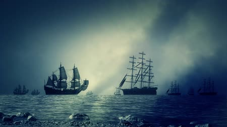 yelkencilik : Naval Battle in the Ocean Between Sailing Ships Armies