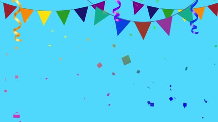 festa : Colorful Party Elements With Confetti Going in and Out of Frame