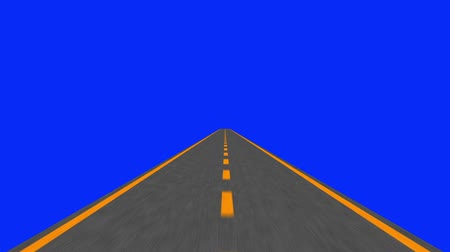 horizont : Driving an Asphalt Road to Horizon in Loop on a Blue Screen