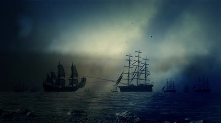 средневековый : Heavy Sea Battle Between Fleets of Sailing Ships Under a Lightning Storm Стоковые видеозаписи