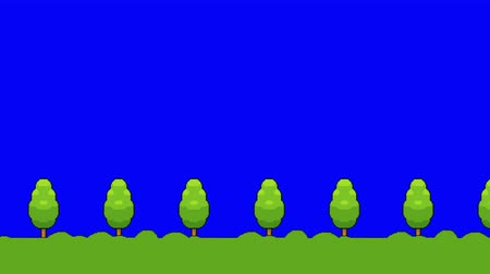 дичь : Pixel Art Video Game Grass and Trees on a Blue Screen Moving Forward