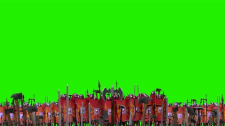 római : Roman Legion Battle Formations Standing In Front of an Army Before Battle on a Green Screen