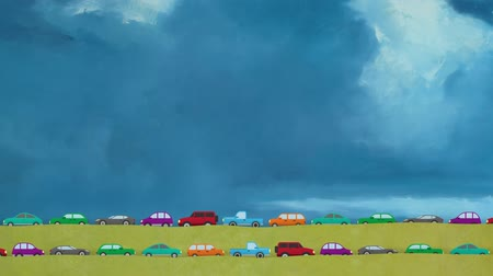 hora : Cartoon Vector Cars Driving Both Direction in Rush Hour on a Big Blue Sky Background Vídeos