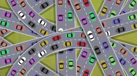 encruzilhada : Top View on Heavy Traffic Cars Driving in Intersection in Rush Hour - Looping