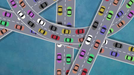 над : Top View on Heavy Traffic Cars Driving in Intersection in Rush Hour - Looping