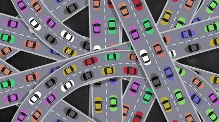 paisagem urbana : Top View on Heavy Traffic Cars Driving in Intersection in Rush Hour - Looping
