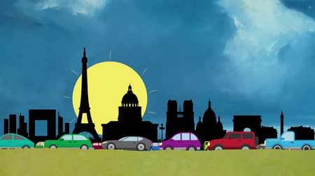 giunco : Looping Vector cartoon di automobili in Heavy Traffic guida su Parigi Skyline