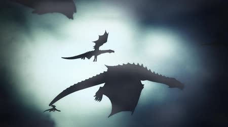 com escamas : Group of Dragons Flying in a Winter Sky Against the Wind