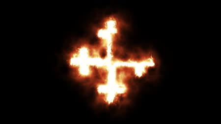 buring : Burning Cross - The Latin Cross Crosslet Burning in Flames Stock Footage