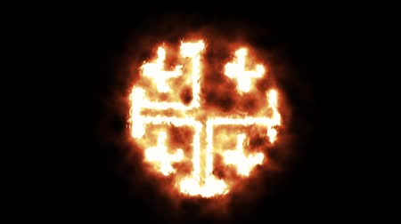 buring : Burning Cross - Jerusalem Cross Burning in Flames