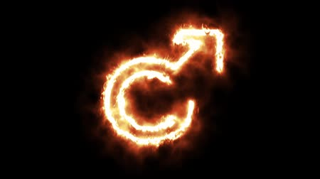 buring : The Male Sign Lighting up and Burning in Flames
