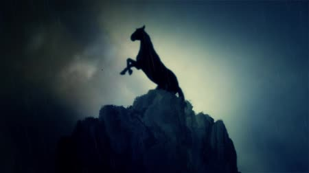 miecz : An Epic Stallion Horse Standing on a Cliff Under a Lightning Storm in Slow Motion