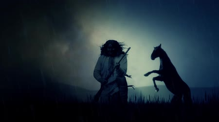 tribo : An Epic Native American Warrior and a Horse Under a Storm