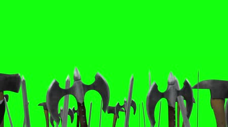 středověký : Army of Warriors Waving Up their Weapons with Axes and Swords on a Green Screen Background