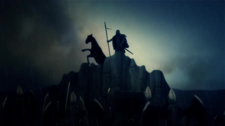 rytíř : A Warrior and his Horse Cheered By Army Before a Battle or After a Victory Under Storm