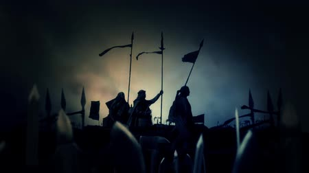 bitva : Army of Christian Warriors Preparing for Battle Under a Lightning Storm