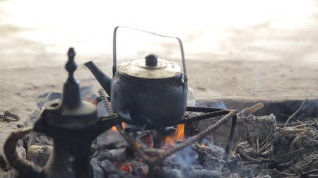 yemen : Bedouins Making Tea in a Kattle on a Bonfire
