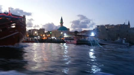 akko : Cruising to Acre Port in Israel at Evening Time Stock Footage