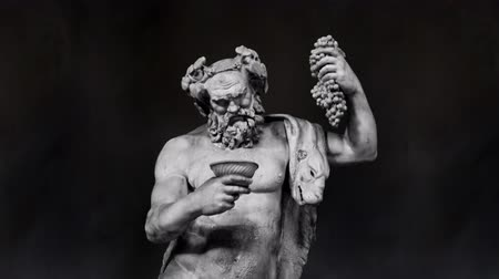 dionysus : Dionysus Sculpture Sculpture Slow Motion on a Black Background Stock Footage
