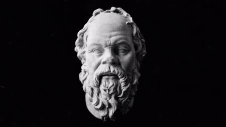 philosopher : Socrates Sculpture Rotate Slow on a Black Background Stock Footage