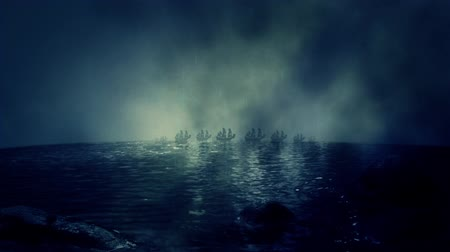 голландский : Skyline of a Fleet of Sail Ships in the Horizon Under Rain Стоковые видеозаписи