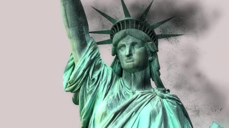 totalitarianism : Statue of Liberty Falls Apart and Crumbling