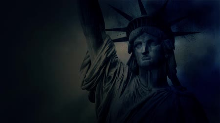 totalitarianism : Statue Of Liberty Crumbling Under A Lightning Storm Stock Footage
