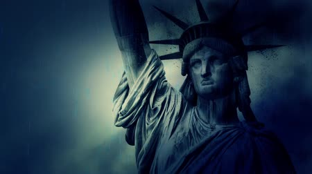 totalitarianism : Statue of Liberty Crumbling on a Rainy Stormy Day Stock Footage
