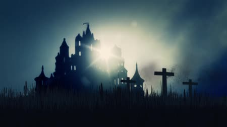 гот : 3 Wooden Crosses Burning on a Scary Castle Background Стоковые видеозаписи