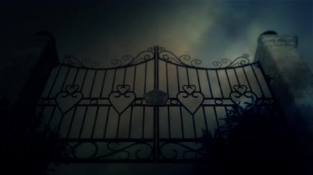 gates : Spooky Old Metal Gates Under a Lightning Storm Stock Footage