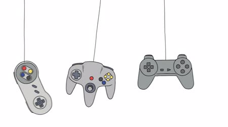 eğlence oyunları : Cartoon Joysticks of a Video Game Consoles Swinging Stok Video